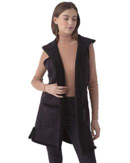 Faux Shearling Long Hooded Vest In Black