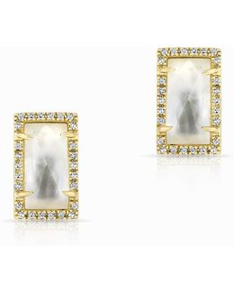 14kt Yellow Gold Diamond Mother Of Pearl Sara Stud Earrings