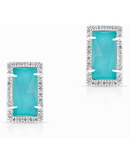 14kt White Gold Diamond Turquoise Sara Stud Earrings