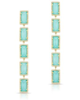 Yellow Gold Turquoise Diamond Rectangle Drops Earrings