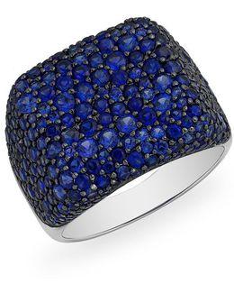 14kt White Gold Blue Sapphire Stingray Ring