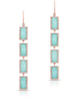 14kt Rose Gold Turquoise Diamond Rectangle Drops Earrings