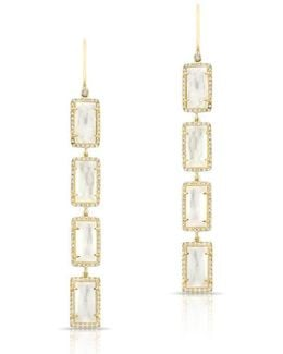14kt Yellow Gold Mother Of Pearl Diamond Rectangle Drops Earrings