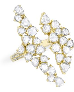 14kt Yellow Gold Diamond Double Cluster Open Ring