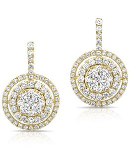 14kt Yellow Gold Pave Diamond Double Halo Wireback Earrings