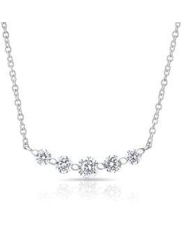 14kt White Gold Diamond Round Crown Necklace