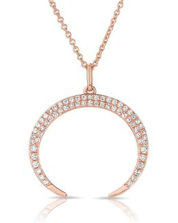 14kt Rose Gold Diamond Crescent Moon Necklace