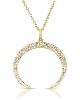 14kt Yellow Gold Diamond Crescent Moon Necklace