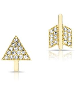 14kt Yellow Gold Diamond Split Arrow Stud Earrings