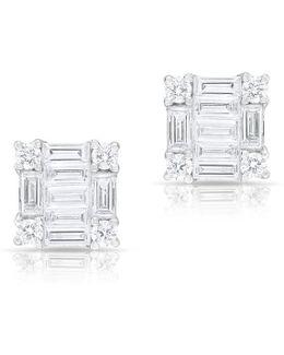 14kt White Gold Baguette Diamond Square Stud Earrings