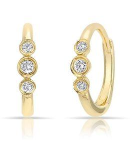 14kt Yellow Gold Diamond Hazel Bezel Huggie Earrings