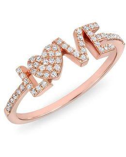 14kt Rose Gold Diamond Love Heart Ring