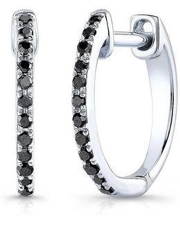 14kt White Gold Black Diamond Huggie Earrings