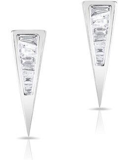 14kt White Gold Baguette Diamond Triangle Stud Earrings