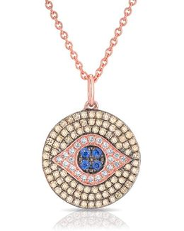 14kt Rose Gold Champagne Diamond And Sapphire Evil Eye Disc Necklace