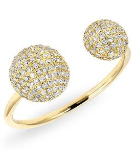 14kt Yellow Gold Diamond Double Bouton Ring