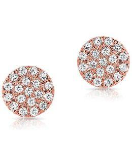 14kt Rose Gold Mini Diamond Disc Stud Earrings