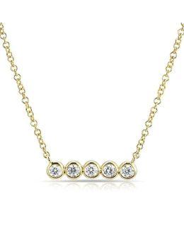 14kt Yellow Gold Bezel Set Diamond Short Bar Necklace