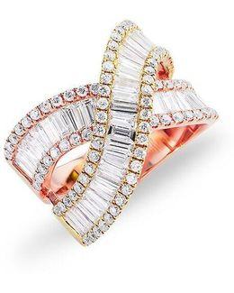 14kt Yellow And Rose Gold Baguette Diamond Wrap Ring