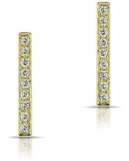 14kt Yellow Gold Diamond Bar Stud Earrings