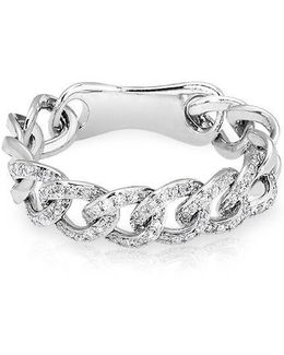 14kt White Gold Diamond Chain Link Light Ring