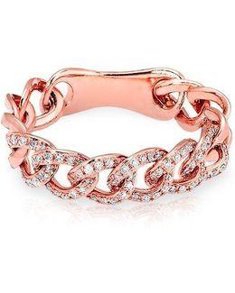 14kt Rose Gold Diamond Chain Link Light Ring