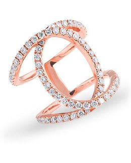 14kt Rose Gold Diamond Oval Cigar Band Ring