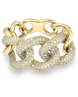 14kt Yellow Gold Luxe Diamond Chain Link Ring