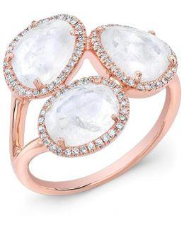 14kt Rose Gold Moonstone Diamond Trinity Ring
