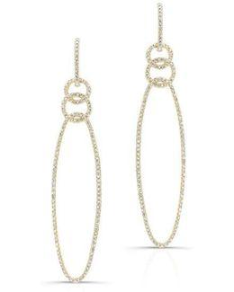 14kt Yellow Gold Diamond Chain Link Oval Drop Earrings