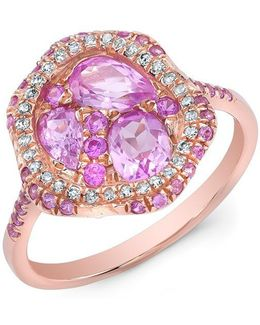 14kt Rose Gold Pink Sapphire Cluster Diamond Cocktail Ring