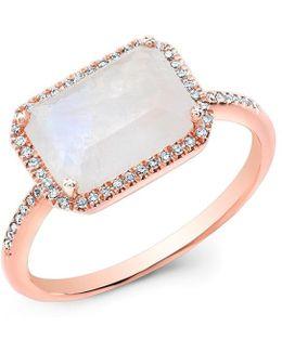 14kt Rose Gold Moonstone Diamond Chic Ring