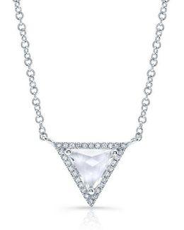 14kt White Gold White Topaz Triangle Diamond Necklace