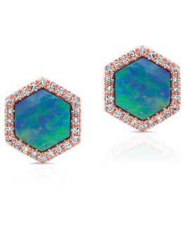 14kt Rose Gold Opal Diamond Hexagon Stud Earrings