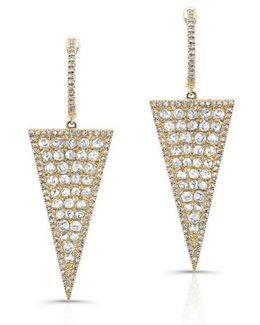 14kt Yellow Gold Diamond Slice Triangle Earrings