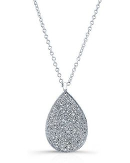 14kt White Gold Diamond Large Pear Shaped Necklace
