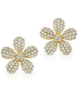14kt Yellow Gold Diamond Puffy Daisy Flower Stud Earrings