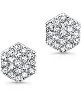 14kt White Gold Hexagon Diamond Stud Earrings