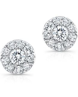 18kt White Gold Small Diamond Stud Earrings