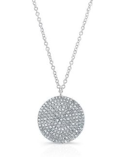 14kt White Gold Large Diamond Disc Necklace