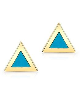 14kt Yellow Gold And Turquoise Triangle Stud Earrings
