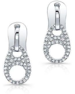 14kt White Gold Diamond Zipper Earrings
