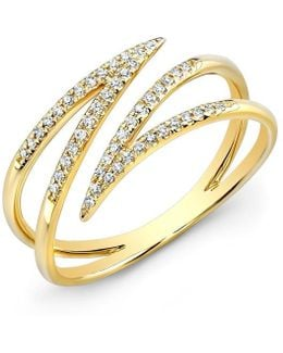 14kt Yellow Gold Diamond Spike Wrap Ring