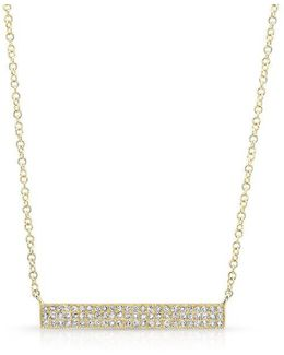14kt Yellow Gold Diamond Wide Bar Necklace