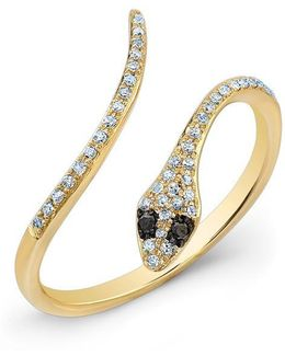 14kt Yellow Gold Diamond Slytherin Ring With Black Diamond Eyes