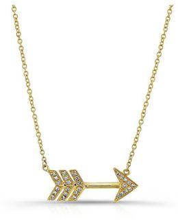 14kt Yellow Gold Diamond Large Arrow Necklace