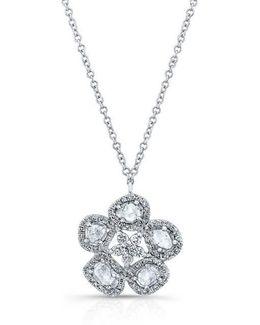 14kt White Gold Mae Medium Flower Diamond Slice Necklace