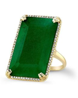 14kt Yellow Gold Emerald Diamond Rectangle Cocktail Ring