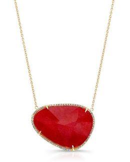 14kt Yellow Gold Pink Tourmaline Diamond Organic Shape Necklace