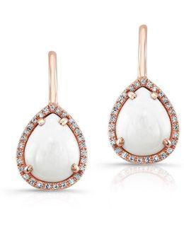 14kt Rose Gold White Agate Diamond Pear Shape Earrings